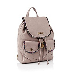 Mantaray - Light purple faux leather floral print backpack
