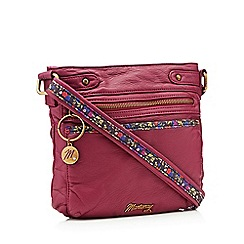 Mantaray - Wine red floral inlay cross body bag