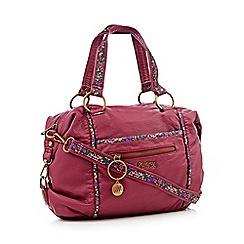Mantaray - Wine red floral trim bowler bag