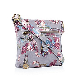 Mantaray - Dark grey floral print cross body bag