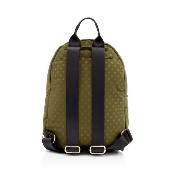 Dark backpack Red spot double print Herring green zip Fx1w17UORq