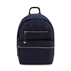 Red Herring - Navy double zip spot print backpack