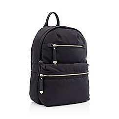 Red Herring - Black double zip backpack