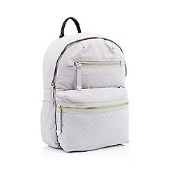 Red Herring - Light grey double zip spot print backpack