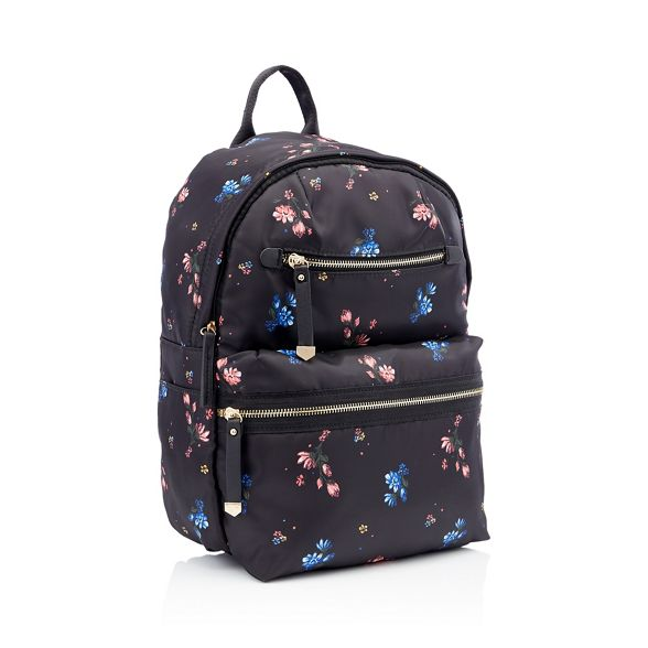 backpack Black double Herring floral Red zip print YqHfxzCzw