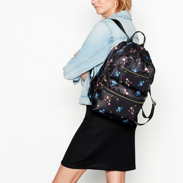 backpack double floral Black Red print zip Herring RxFfnf