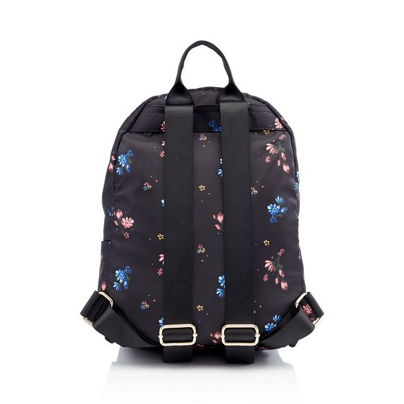 floral backpack zip Herring Red Black double print qIWBY