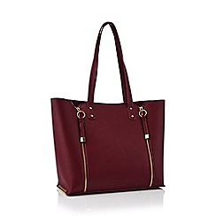 Faith - Wine red double zip shopper bag