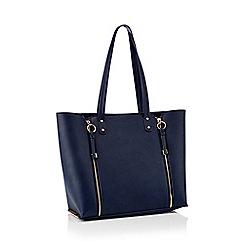 Faith - Navy double zip shopper bag