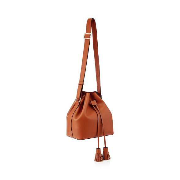 duffle tassel bag Faith faux leather drawstring Tan q01nApwX