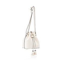Red Herring - White faux leather drawstring tassel duffle bag
