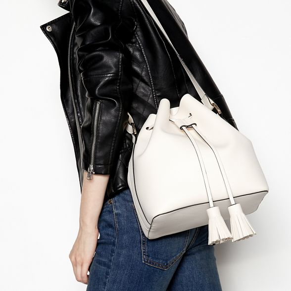 drawstring tassel bag duffle Faith leather White faux HnwqAOtOv