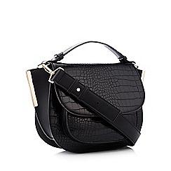 Faith - Black croc-effect saddle bag