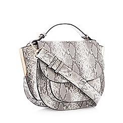 Faith - Grey snakeskin-effect saddle bag
