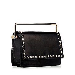 Faith - Black eyelet stud patent cross body bag