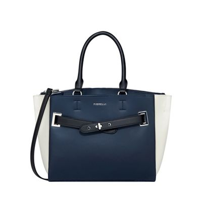 Fiorelli   Navy And White 'alma' Buckle Front Tote Bag by Fiorelli
