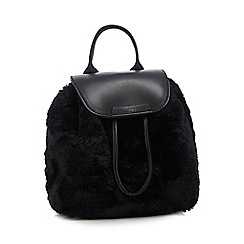KENDALL + KYLIE - Black 'Poppy' faux fur mini backpack