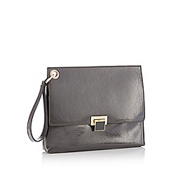 Faith - Grey wristlet patent clutch bag