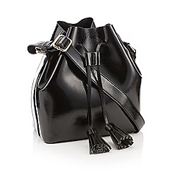 Faith - Black patent faux leather drawstring duffle bag