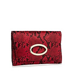 Faith - Red faux leather snake print gold ring clutch bag