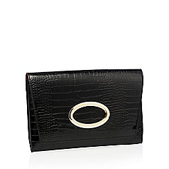 Faith - Black faux leather croc effect gold ring clutch bag