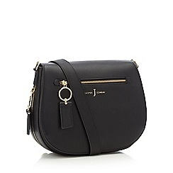 J by Jasper Conran - Black grained faux leather zip detail 'Richmond' saddle bag