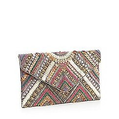 Nine by Savannah Miller - Multicoloured beaded envelope clutch bag