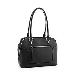 Principles Black Faux Leather Front Pocket Shoulder Bag