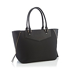 Principles - Black zip detail winged tote bag