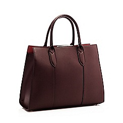 Principles Wine Red Faux Leather Anais Tote Bag