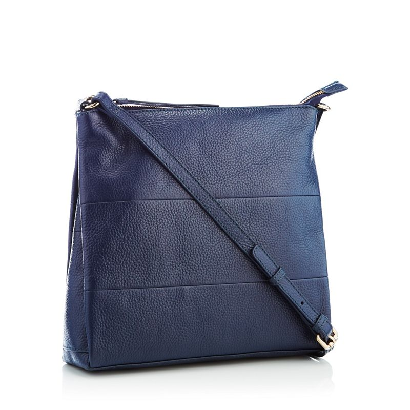 Principles - Navy Panelled Leather Cross Body Bag
