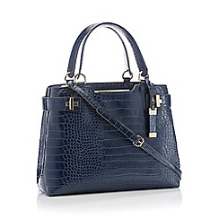J by Jasper Conran - Navy 'Bordeaux' Cross Embossed Faux Leather Grab Bag