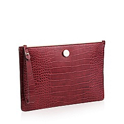 J by Jasper Conran - Red Croc-Effect 'St Germain' Clutch Bag