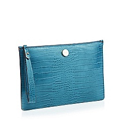 J by Jasper Conran - Turquoise Croc-Effect 'St Germain' Clutch Bag
