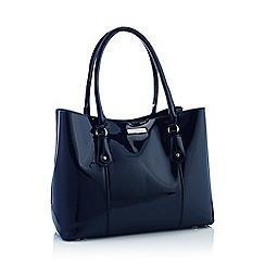 Principles - Navy patent large shopper bag