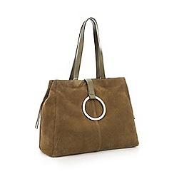 RJR.John Rocha - Khaki Suede Ring Detail Shopper Bag