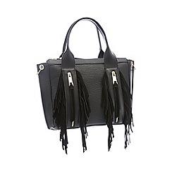 Nine by Savannah Miller - Black Faux Leather 'Lou' Fringed Grab Bag