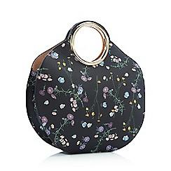 Faith - Black Floral Print 'Gabby' Circle Bag