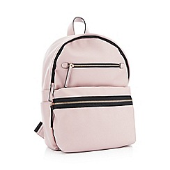 Faith - Pink Faux Leather 'Isla' Double Zip Backpack