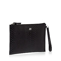 Star By Julien Macdonald Black Reptile Textured Clutch Bag