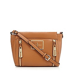 J by Jasper Conran - Tan double zip cross body bag