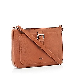 The Collection Tan Front Buckle Cross Body Bag