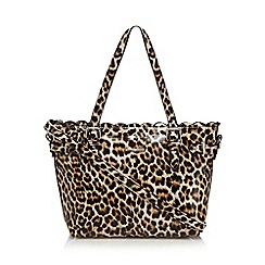 The Collection - Black leopard print scalloped small grab bag
