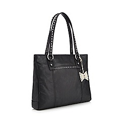 The Collection - Black leather stitch detail tote bag