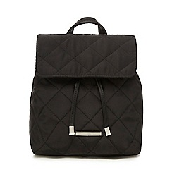 Red Herring - Black flap quilted backpack
