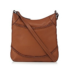 The Eighth - Tan leather whipstitched cross body bag
