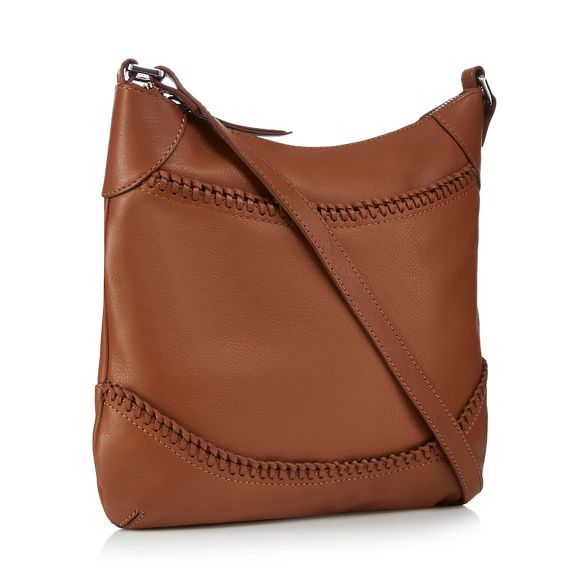 leather cross whipstitched body bag Tan The Eighth 7Hf1xT