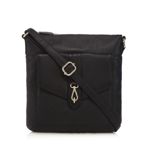 leather body buckle cross Black The detail bag Eighth wqvn81