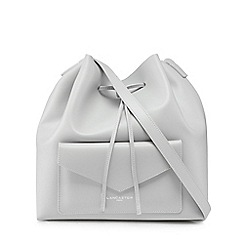 Lancaster - Light grey leather duffle bag