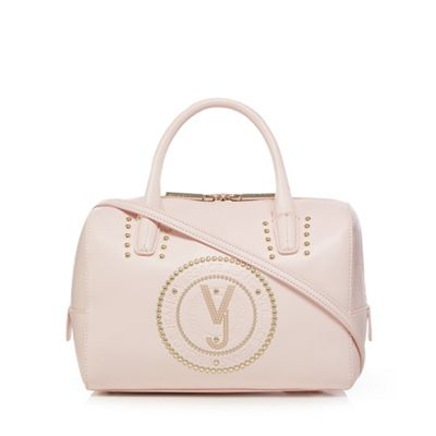 Versace Jeans   Light Pink Embossed Bowler Bag by Versace Jeans